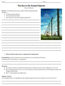 The Boy in Striped Pajamas Unit Plan - Study Guide and Chapter Questions