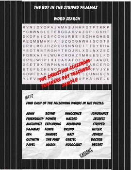 The Boy in The Striped Pajamas Word Search