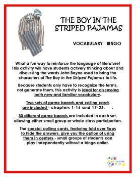 The Boy in the Striped Pajamas Vocabulary Bingo