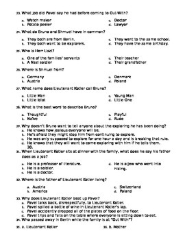 """50 Question """"The Boy in the Striped Pajamas"""" Final Test w/ Answer Key"""