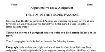 the boy in the striped pajamas argumentative essay by mdaveyteaches the boy in the striped pajamas argumentative essay