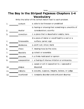 The Boy in the Striped Pajamas Ch. 1-4 Vocabulary quiz