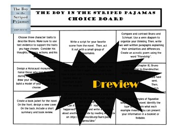 The Boy in the Striped Pajamas Choice Board Tic Tac Toe Novel Activities Menu