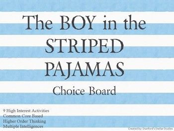 The Boy in the Striped Pajamas Choice Board Tic Tac Toe No