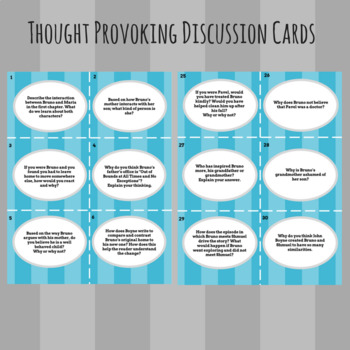 The Boy in the Striped Pajamas - Comprehension & Discussion Cards (Ch. 1-10)