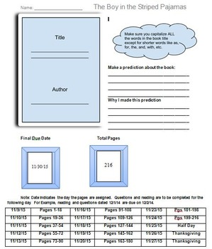 The Boy in the Striped Pajamas Novel Assignment