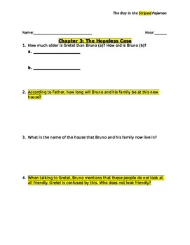 The Boy in the Striped Pajamas Novel Guided Reading Questions