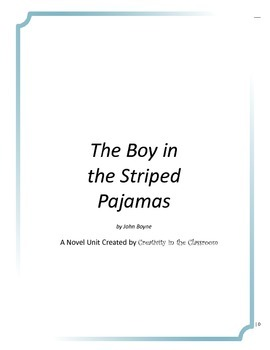 The Boy in the Striped Pajamas Novel Unit Plus Grammar