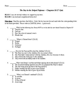 The Boy in the Striped Pajamas Quiz Chapters 10-17