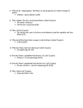 The Boy in the Striped Pajamas by J. Boyne Reading Check Quizzes with Answer Key