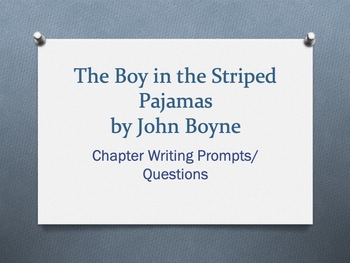 The Boy in the Striped Pajamas, by John Boyne.  Chapter Ques/Writing Prompts