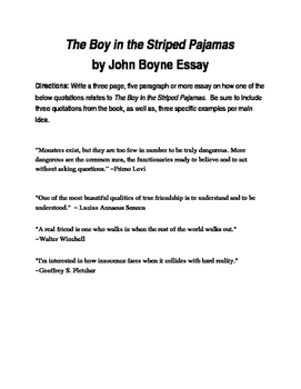 The Boy in the Striped Pajamas by John Boyne Tests and Handouts