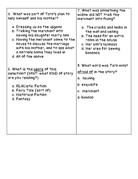 The Boy of the Three Year Nap Reading Comprehension Quiz