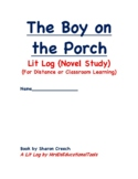 The Boy on the Porch Lit Log