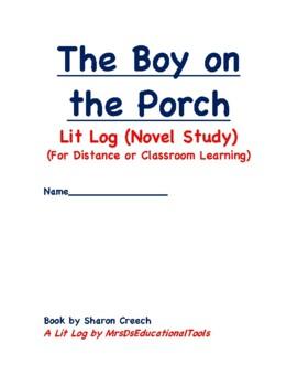 The Boy on the Porch Lit Log