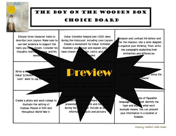 The Boy on the Wooden Box Choice Board Tic Tac Toe Novel Activities Menu Project