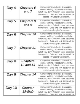 The Boy who Harnessed the Wind YOUNG READERS EDITION reading schedule