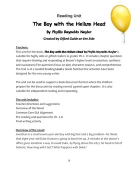 Gifted Book Unit: The Boy with the Helium Head: