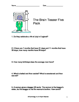30 Brain Teasers for Middle and High School Students