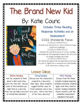 The Brand New Kid Reading Comprehension (CCSS) Bullying Unit