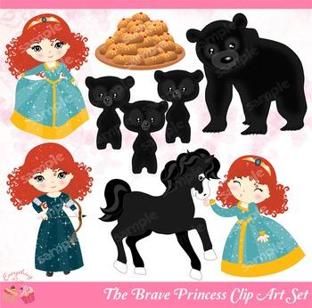 The Brave Princess Merida Clipart Set