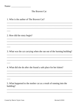 The Bravest Cat by Laura Driscoll Comprehension Questions