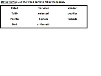 The Breadwinner Chapter 1 Comprehension fill-in-the-blanks