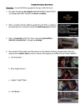 The Breakfast Club Film (1985) Study Guide Movie Packet