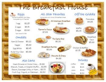 The Breakfast House Menu Mini Unit (2.MD.C.8 & 4.MD.A.2)