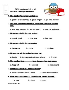 The Bremen Town Musicians Reading Comprehension Test/Quiz