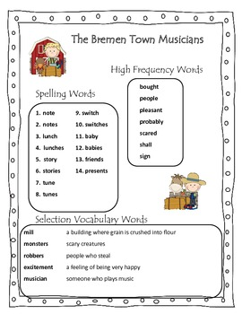The Bremen Town Musicians Reading Street 2013 Grade 2