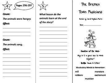The Bremen Town Musicians Trifold - Reading Street 2nd Grade Unit 2 Week 4