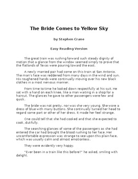 The Bride Comes to Yellow Sky -  Easy Reading Version