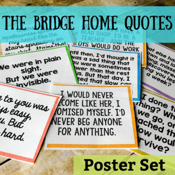 the bridge home quote posters by oh so simple ela tpt