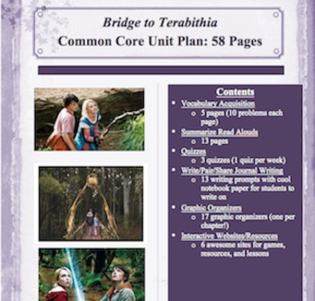 The Bridge to Terabithia Unit Plan Correlated to Standards