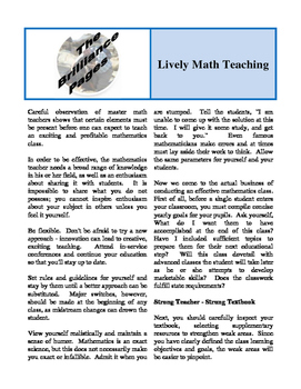 Brilliance Pages - Improve Mathematical Thinking; Lively Math Teaching