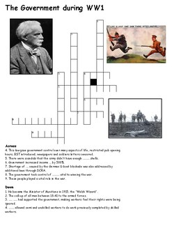 The British Government During World War One Cross Word