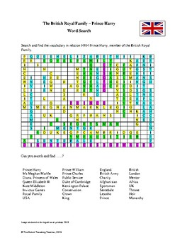 British Royal Family - Prince Harry 2018 Word Search