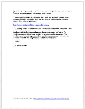 The British Surrender at Yorktown: American Revolution Primary Source Worksheet