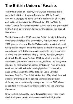 The British Union of Fascists Handout