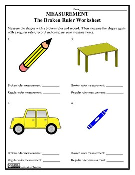 the broken ruler worksheet measurement free by innovative teacher. Black Bedroom Furniture Sets. Home Design Ideas