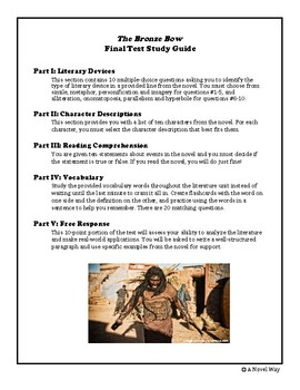 The Bronze Bow Final Test Study Guide