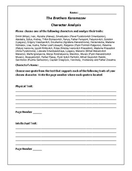 The Brothers Karamazov Character Analysis Activity - Fyodor Dostoevsky