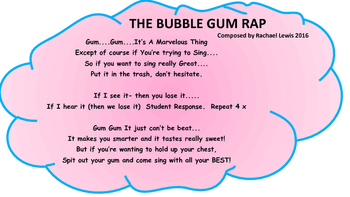 The Bubble Gum Rap   Poster and Song for Behavior Management