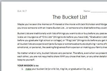 "The Bucket List: A CCSS ELA ""Short Research Project"""