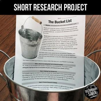 "The Bucket List: A CCSS ELA ""Short Research Project"""
