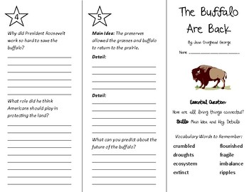 The Buffalo are Back Trifold - Wonders 4th Grade Unit 2 Week 3