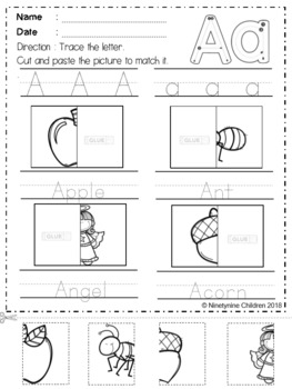 Alphabet Cut and Paste The Bundle By Ninetynine Children