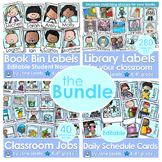 The Bundle-book bin labels, classroom jobs, library labels, and schedule cards