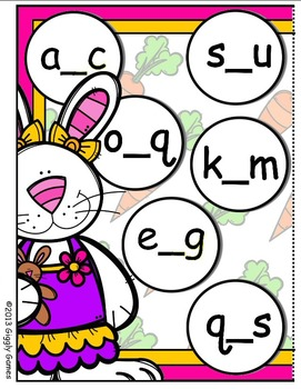 The Bunny Bunch Missing Letters File Folder Game